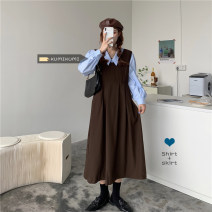Dress Spring 2021 Blue shirt, white shirt, coffee skirt, black skirt Average size longuette singleton  Sleeveless commute High waist Solid color A-line skirt straps 18-24 years old Type A Korean version 30% and below