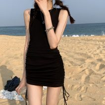 Dress Summer 2021 Apricot, blue, black, khaki green S, M Short skirt singleton  Sleeveless commute Crew neck High waist Solid color 18-24 years old Type H Korean version 30% and below