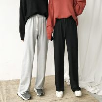 Casual pants Gray, black Average size Spring 2021 trousers Wide leg pants High waist commute routine 18-24 years old 71% (inclusive) - 80% (inclusive) Other / other cotton Korean version Bandage cotton