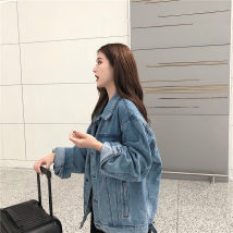 short coat Autumn of 2018 Average size Blue denim Coat Black Denim coat Long sleeves routine routine singleton  easy commute routine Polo collar Single breasted 18-24 years old Other / other