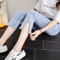 Jeans Spring 2021 Seven, eight, nine 26 27 28 29 30 31 32 Ninth pants High waist Straight pants routine 25-29 years old Cotton elastic denim light colour Ice and snow Denny 51% (inclusive) - 70% (inclusive) Cotton 64% polyester 31% viscose 3% polyurethane elastic 2% Pure e-commerce (online only)