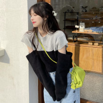 Wool knitwear Spring 2021 Average size Light grey and black Long sleeves singleton  Socket acrylic fibres 71% (inclusive) - 80% (inclusive) Regular routine commute easy Low crew neck routine Color matching Socket Korean version 18-24 years old