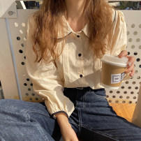shirt Apricot, white, navy Average size Spring 2021 other 81% (inclusive) - 90% (inclusive) Long sleeves commute Regular Doll Collar Single row multi button routine Solid color 18-24 years old Straight cylinder Korean version cotton