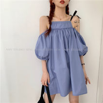 Dress Spring 2021 Purple, pink Average size Short skirt singleton  Short sleeve commute Loose waist Solid color Socket other puff sleeve camisole 18-24 years old Type H Korean version