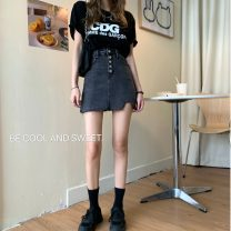 skirt Summer 2020 S,M,L Blue, black and gray Short skirt commute High waist A-line skirt Solid color Type A 18-24 years old Asymmetry, button Korean version