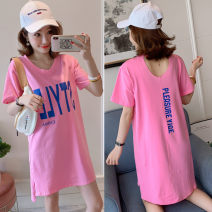 T-shirt S,M,L,XL,2XL,3XL Summer 2021 Short sleeve V-neck easy Medium length routine commute cotton 96% and above 18-24 years old Korean version originality letter