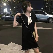 Dress Summer 2021 Black, white S. M, l, XL, collection attention = priority delivery Mid length dress singleton  Long sleeves Sweet other Solid color other routine 18-24 years old Type X Other / other 30% and below polyester fiber college