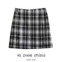 skirt Spring of 2019 S, M Lattice 8113 Short skirt Versatile High waist A-line skirt lattice Type A 31% (inclusive) - 50% (inclusive) other