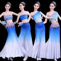 National costume / stage costume Spring of 2019 Blue to white diagonal shoulder belt with flower and diamond, blue to white breast wrapped with flower and diamond, blue to white diagonal shoulder belt with diamond, blue to white breast wrapped with diamond