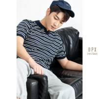 Polo shirt Other / other Fashion City routine Blue, off white M,L,XL,2XL,3XL standard Other leisure summer Short sleeve tide routine youth 2021 stripe cotton No iron treatment