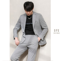 Suit Business gentleman Others Black, gray routine Baling collar Double slit Four seasons Self cultivation Double breasted go to work youth Business Formal  2020