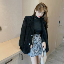 Women's large Autumn 2020 It is suggested that the size of the recommended size is 120-40kg, and it is recommended to use the size of 120-40kg Other oversize styles Three piece set commute easy moderate Cardigan Long sleeves Retro routine 18-24 years old Short skirt