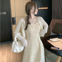 Women's large Spring 2021, summer 2021 Apricot cardigan , Decor dress It is suggested that the size of the recommended size is 120-40kg, and it is recommended to use the size of 120-40kg Dress Two piece set commute Self cultivation thin Socket Sleeveless Korean version Medium length 3335#