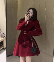 Women's large Winter 2020, spring 2021 Red, black M [recommended 90-100 kg], l [100-120 Jin], XL [120-140 Jin], 2XL [140-160 Jin], 3XL [160-180 Jin], 4XL [180-200 Jin recommended] Dress singleton  commute Self cultivation thick Conjoined Long sleeves Korean version 18-24 years old Short skirt bow