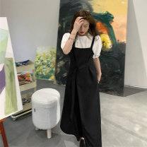 Dress Summer 2021 30131 top white, 30132 Dress Black One size, l [recommended 100-120 kg], XL [recommended 120-140 kg], 2XL [recommended 140-160 kg], 3XL [recommended 160-180 kg], 4XL [recommended 180-200 kg] Mid length dress singleton  Sleeveless commute square neck Solid color Socket A-line skirt