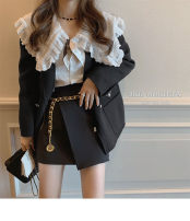 Women's large Winter 2020, autumn 2020 Lapel shirt, black suit, irregular skirt It is suggested that the size of the recommended size is 120-40kg, and it is recommended to use the size of 120-40kg Three piece set commute Self cultivation thick Long sleeves Korean version routine 18-24 years old