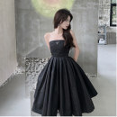 Women's large Summer 2021 black It is suggested that the size of the recommended size is 120-40kg, and it is recommended to use the size of 120-40kg Dress singleton  commute easy moderate Conjoined Sleeveless Retro Medium length Three dimensional cutting 18-24 years old Three dimensional decoration