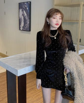 Women's large Spring 2021 black It is suggested that the size of the recommended size is 120-40kg, and it is recommended to use the size of 120-40kg Dress singleton  commute Self cultivation Conjoined Long sleeves Solid color Retro Half high collar other routine 25-29 years old Short skirt
