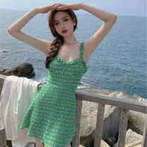 Women's large Summer 2021 green It is suggested that the size of the recommended size is 120-40kg, and it is recommended to use the size of 120-40kg Dress singleton  commute Self cultivation moderate Conjoined Sleeveless Korean version Medium length Three dimensional cutting 18-24 years old