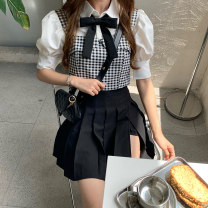 Women's large Summer 2021 Plaid vest (with bow tie) 510, short sleeve shirt 503, short skirt pants 509 Three piece set commute moderate Short sleeve Korean version Polo collar routine Three dimensional cutting puff sleeve Short skirt Pleated skirt