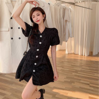 Women's large Summer 2021 Pink, black It is suggested that the size of the recommended size is 120-40kg, and it is recommended to use the size of 120-40kg Dress singleton  commute Self cultivation moderate Cardigan Short sleeve Korean version Medium length Three dimensional cutting 18-24 years old
