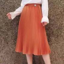 skirt Spring 2021 1 = XS, 2 = s, 3 = m, 4 = L, 5 = XL Orange Middle-skirt commute High waist Pleated skirt Solid color Type A 30-34 years old 1200052-1104243-001 More than 95% Novel goldette Cellulose acetate