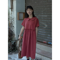 Dress Autumn of 2019 Tomato red, taro purple S,M,L Mid length dress singleton  Short sleeve Sweet Doll Collar High waist Solid color zipper A-line skirt routine Others 18-24 years old Type H Lotus leaf edge, fungus More than 95% other college