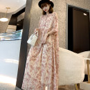 Dress Summer 2020 Black, light pink S,M,L,XL,2XL,3XL longuette Two piece set Short sleeve commute Crew neck High waist Decor Socket Big swing routine Others 25-29 years old Type A Other / other Korean version More than 95% Chiffon other