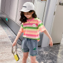 suit Other / other Pink collar, orange collar 110cm,120cm,130cm,140cm,150cm,160cm female summer Korean version Short sleeve + pants 2 pieces Thin money There are models in the real shooting Socket nothing stripe cotton children Expression of love HT2295 Class B Chinese Mainland Zhejiang Province