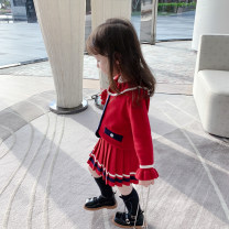 suit Other / other Red, gray 80cm,90cm,100cm,110cm,120cm,130cm,140cm female spring and autumn Korean version Long sleeve + skirt routine There are models in the real shooting Socket nothing Solid color cotton children Expression of love