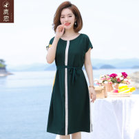 Middle aged and old women's wear Summer 2021 green commute Dress easy singleton  Solid color 40-49 years old Socket thin Crew neck Medium length routine LS2021B-FA139 Sskkdeer / Luxi polyester Polyester 100% 96% and above Pure e-commerce (online only) longuette
