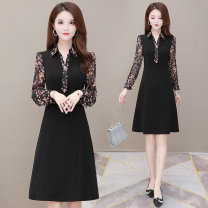 Dress Autumn 2020 black L XL 2XL 3XL 4XL Mid length dress singleton  Nine point sleeve commute Polo collar High waist Decor Socket A-line skirt routine Others 35-39 years old Type A Melanie Korean version Patchwork printing More than 95% other polyester fiber Other polyester 95% 5%