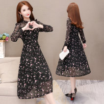 Dress Autumn of 2019 Black blue M L XL 2XL 3XL 4XL 5XL longuette singleton  Long sleeves commute Crew neck middle-waisted Decor Socket A-line skirt routine Others 35-39 years old Melanie Korean version Decor 019WZ-19A04 More than 95% polyester fiber Other polyester 95% 5%