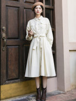 Dress Autumn 2020 Cream apricot S. M, l, (minority retro), (self-cultivation versatile) Mid length dress singleton  Long sleeves commute Polo collar High waist Solid color Single breasted Big swing routine Others 18-24 years old Type A Retro Buttons, pockets, bows NB52036