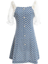 Dress Summer 2021 Denim blue S,M,L,XL Short skirt singleton  Sleeveless commute square neck High waist other Socket A-line skirt routine Others 25-29 years old Type A Ou Ni Xue Ol style Embroidery DB803 51% (inclusive) - 70% (inclusive) other cotton