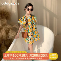 Dress yellow female Other / other 80cm,90cm,100cm,110cm,120cm,130cm Cotton 100% spring and autumn Korean version Short sleeve Broken flowers other A-line skirt Class A 2 years old, 3 years old, 4 years old, 5 years old, 6 years old, 7 years old, 8 years old