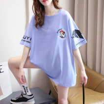 T-shirt Blue white black Average size Summer 2021 Short sleeve Crew neck easy Medium length routine commute cotton 86% (inclusive) -95% (inclusive) 18-24 years old Korean version originality letter Zhensihui zsh21041402 printing Cotton 95% polyurethane elastic fiber (spandex) 5%