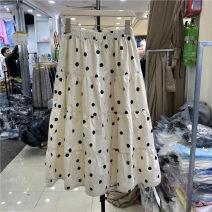 skirt Summer 2021 M, L Apricot High waist Dot
