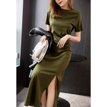 Dress Spring 2021 Black, olive green S, m, l, XL longuette singleton  Short sleeve commute Crew neck Solid color Socket routine Simplicity More than 95% cotton