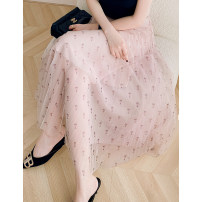 skirt Spring 2021 S code (suitable for 26), M code (suitable for 27), l code (suitable for 28) Floret on rice ground Mid length dress commute A-line skirt Decor Type A More than 95% polyester fiber Simplicity