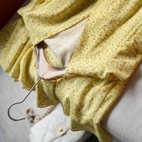Dress Spring 2021 Small yellow flowers S code, M code, l code Middle-skirt singleton  Short sleeve commute V-neck High waist Decor other Ruffle Skirt Flying sleeve BLUELUCK Simplicity More than 95% silk