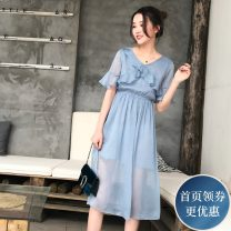 Dress Summer of 2018 blue S M L Mid length dress singleton  elbow sleeve commute V-neck High waist Solid color Socket A-line skirt pagoda sleeve 25-29 years old Type A Mengyige lady More than 95% other Other 100% Pure e-commerce (online only)