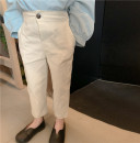 trousers SENBABY female 90, 100, 110 (model), 120, 130, 140, 150 White casual pants (spot), white casual pants (pre-sale) spring and autumn Ninth pants leisure time There are models in the real shooting Casual pants Leather belt middle-waisted other Don't open the crotch s657