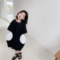 Dress Black T-skirt, black T-skirt (pre-sale) female SENBABY 90, 100, 110 (model), 120, 130, 140, 150 Other 100% summer leisure time Solid color other other s695 2 years old, 3 years old, 4 years old, 5 years old, 6 years old, 7 years old, 8 years old