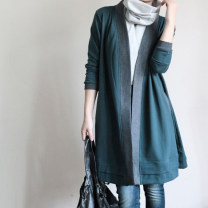 Windbreaker Autumn of 2019 Average size Turquoise Long sleeves routine Medium length commute other other routine High waist type literature 96% and above cotton cotton cotton