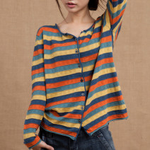 Wool knitwear Summer 2021 L,XL Long sleeves singleton  Cardigan cotton More than 95% Regular routine commute easy Low crew neck routine stripe Single breasted Simplicity Fungus, splicing