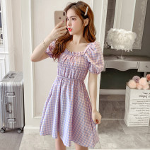 Dress Summer 2021 Purple, yellow S,M,L,XL Short skirt singleton  Short sleeve commute square neck High waist lattice Socket A-line skirt routine Others 18-24 years old Type A Korean version Splicing XW 71% (inclusive) - 80% (inclusive) polyester fiber