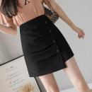 skirt Summer 2021 S,M,L,XL Apricot, black Short skirt commute High waist A-line skirt Type A 18-24 years old XW 71% (inclusive) - 80% (inclusive) Korean version