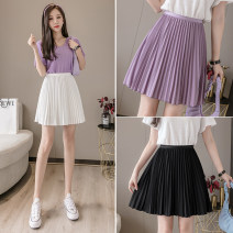 skirt Summer 2021 S,M,L,XL White, violet, black Short skirt commute High waist Pleated skirt Solid color Type A 18-24 years old AT 31% (inclusive) - 50% (inclusive) other other Korean version