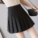 skirt Spring 2021 S,M,L,XL Black, gray Short skirt commute High waist Pleated skirt Solid color Type A 18-24 years old AT 51% (inclusive) - 70% (inclusive) other other Korean version